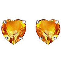 Silver Dew 925 Sterling Silver Valentine Soliatire Heart Citrine Earring