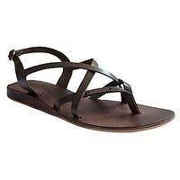 S.L 13007 Fancy Women Leather Brown Sandals