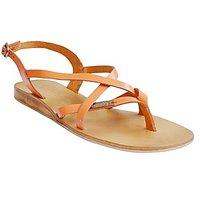 S.L 13007 Fancy Women Leather Orange Sandals