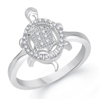 VK Jewels Divine Tortoise Gold and Rhodium Plated Ring