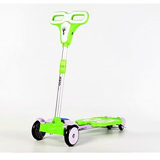 4 Wheel Zip Flick Style Double-board Self Propelled Foot Scooter for Kids- Green