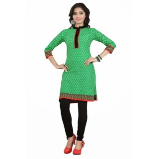 Gorgeous Green Formal Wear Cotton Kurti