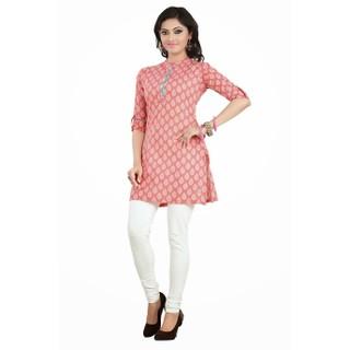 Pink Formal Wear Cotton Kurti