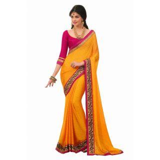 Yellow Satin Chiffon Saree