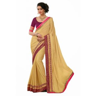 Beige Satin Chiffon Saree with Patch Patti Work
