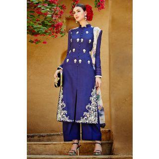 Stunning Blue Trouser Style Salwar Suit