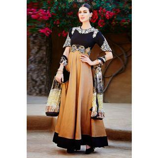 Black And Brown Anarkali Style Salwar Suit
