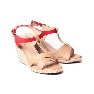 Faux Leather Women Wedges Footwear (996-3-Beige/Red)