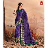 Khazana Dark Violet Sattin Saree With Unstitched Blouse