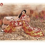Khazana Yellow And Red Sattin Saree With Unstitched Blouse