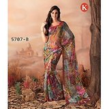 Khazana Multicoloured Brasso Saree With Unstitched Blouse