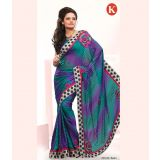 Khazana Purple And Sky Blue Sattin Saree With Unstitched Blouse