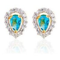 Sheetal Jewellery Gold Plated Turquoise Cz Earrings