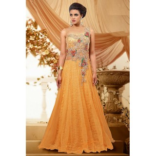 Yellow Net Gown With Embroidery, Beads And Applique Work9