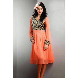 Peach colored Georgette Kurti