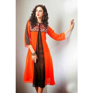 Orange Georgette Kurti With embroidery Work