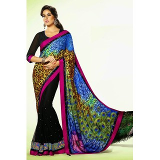 Eye Cathching Party Wear Saree With Resham, Stone, Sequins And Patch Border Work