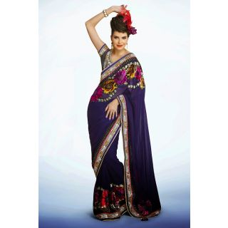 Beautiful Floral Worked Saree Crafted With Abstract Print, Zari, Stone, Applique, Gota Patti And Patch Border Work