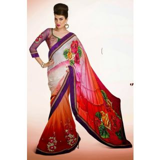 Beautiful Floral Print Saree Crafted With Abstract Print, Resham, Zari, Stone, Applique And Patch Border Work