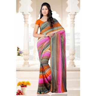Stripes Printed Multi Color Saree