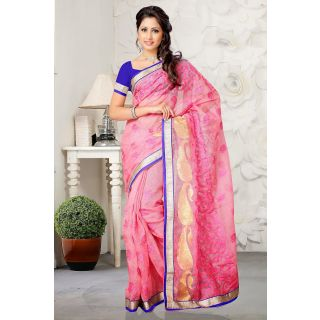 Pretty Pink Saree Made From Rajjo Net With Embroidery Work