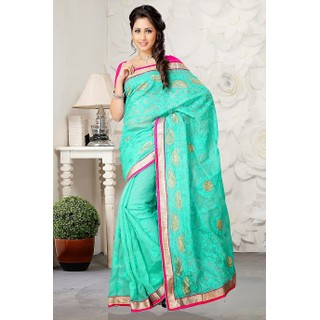 Fresh and Trendy Sea Green Saree Made From Rajjo Net With Embroidery Work