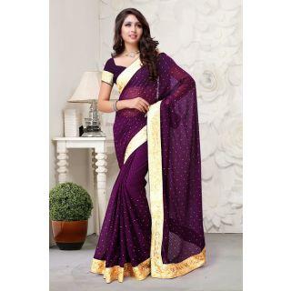 Party wear purple Embriodered Saree