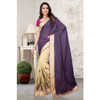 Dark blue party wear Half and Half Saree