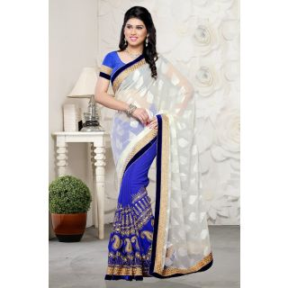 Off White and Blue Party Wear Half and Half Saree