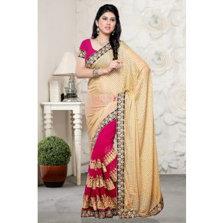 Beige and Fuschsia Pink Party Wear Half and Half saree