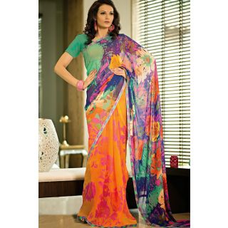 Multi Colored Printed Saree With Patch Patti