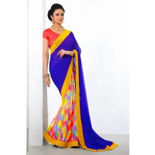 Gorgeous Multi Color Half and Half Saree