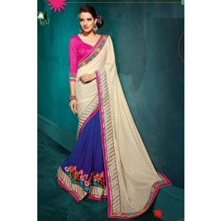 Off White And Blue Beautiful Party Wear Saree
