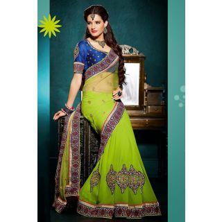 Green Designer Net Saree