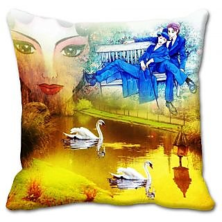 meSleep Yellow Couple Cushion Cover  (20x20)