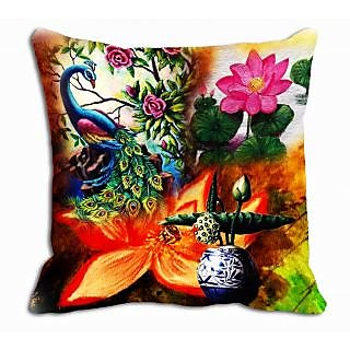 meSleep Peacock Floral Cushion Cover  (20x20)