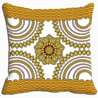 meSleep Yellow Abstract Cushion Cover  (20x20)