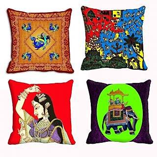 meSleep Traditional Combo 4pc Cushion Cover  (20x20)