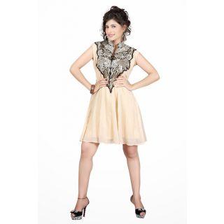 Cream Georgette Party Wear Kurti