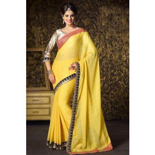 Yellow Chiffon Party Wear Saree