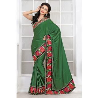 Green Party Wear Saree With Embroidery And Lace Border