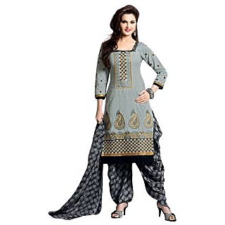 Alia Multicolour Embroidered Cotton Regular Dress Material