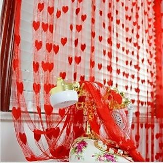 K Decor Red Heart Curtains(Set of 2)