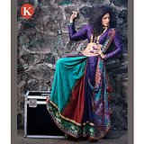 Khazana Purple And Sky Blue  Viscos Saree With Unstitched Blouse