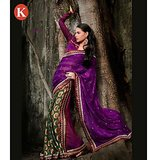 Khazana Purple And Green Viscos Saree With Unstitched Blouse