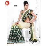 Khazana Green And White Viscos Saree With Unstitched Blouse