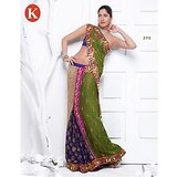 Khazana Green Viscos Saree With Unstitched Blouse