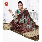 Khazana Dark Coffee Viscos Saree With Unstitched Blouse