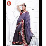 Khazana Light Purple Viscos Saree With Unstitched Blouse