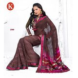 Khazana Pink And Dark Coffee Viscos Saree With Unstitched Blouse
